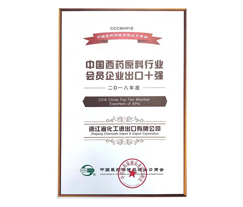 2018年度中国西药原料行业会员企业出口十强
